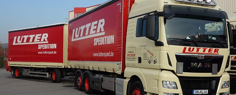 Lutter Spedition NRW - Betriebsumzüge - Maschinentransport - Logistik - LKW mit Anhänger